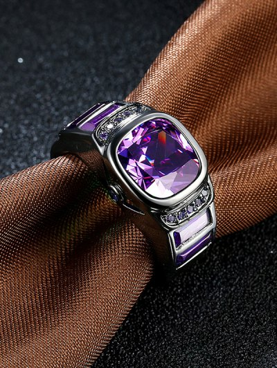 Vintage Faux Gem Ring - PURPLE 7 Mobile