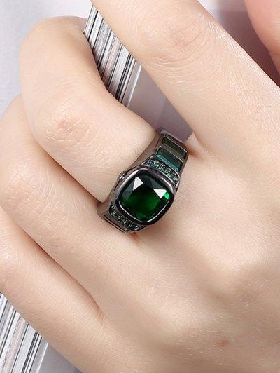 Vintage Faux Gem Ring - GREEN 7 Mobile