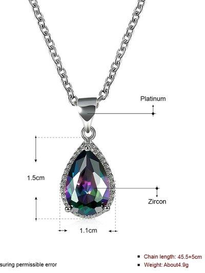 Artificial Gemstone Teardrop Pendant Necklace - SILVER  Mobile