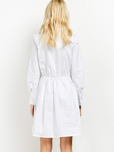 Long Sleeve Embroidered Pockets Shirt Dress - WHITE S Mobile