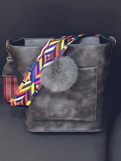 Colorful Strap Pompon Shoulder Bag - GRAY  Mobile