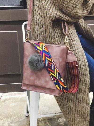 Colorful Strap Pompon Shoulder Bag - PINK  Mobile