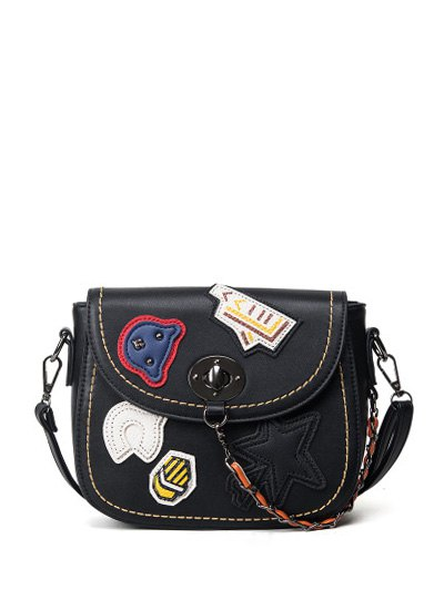 Patches Chains Crossbody Bag - BLACK  Mobile
