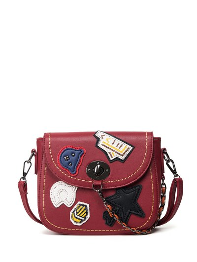 Patches Chains Crossbody Bag - RED  Mobile