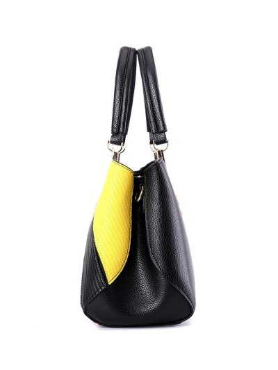 Colored Stripes PU Leather Handbag - BLACK  Mobile