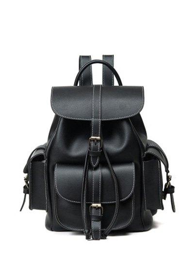 Multi Pockets Buckle Straps Backpack - BLACK  Mobile