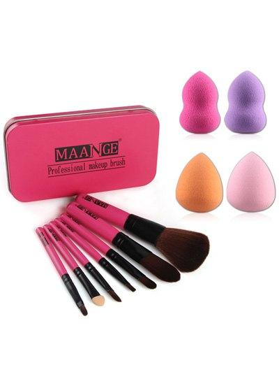 7 Pcs Makeup Brushes Set with Iron Box + Beauty Blenders - ROSE RED  Mobile