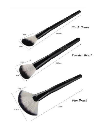 3 Pcs Facial Nylon Makeup Brushes Set - BLACK  Mobile