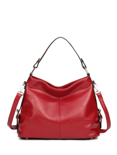 Textured Leather Metal Double Buckle Tote Bag - RED  Mobile