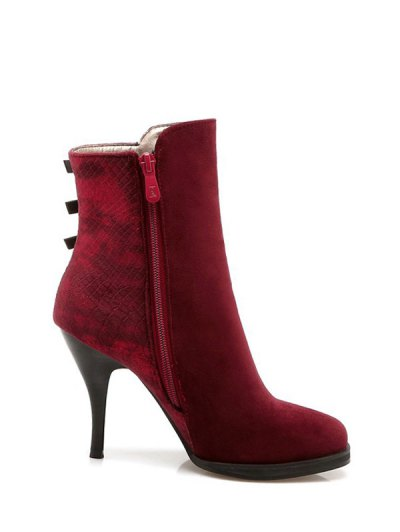 Zipper Metal Embossing Ankle Boots - BURGUNDY 38 Mobile