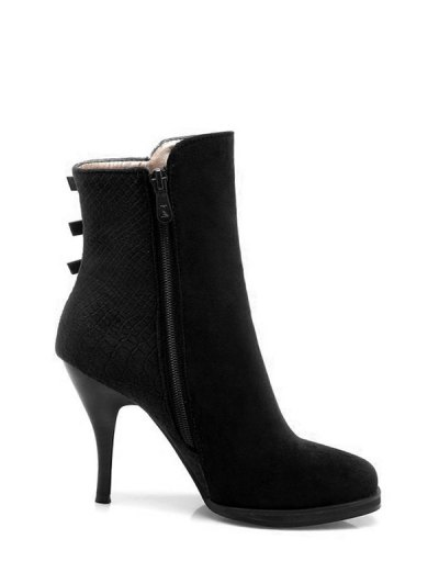 Zipper Metal Embossing Ankle Boots - BLACK 37 Mobile