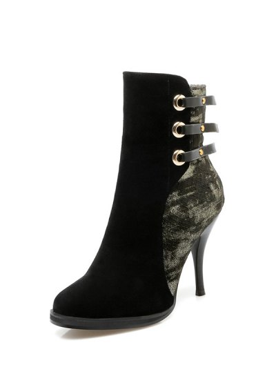 Zipper Metal Embossing Ankle Boots - BLACK 38 Mobile
