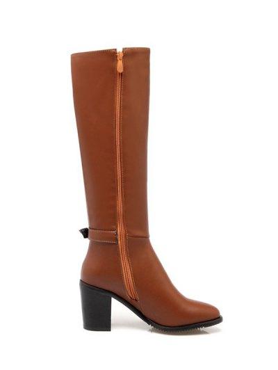 Buckles Chunky Heel Zipper Boots - BROWN 37 Mobile