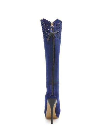 Hollow Out Zipper Platform Boots - BLUE 37 Mobile