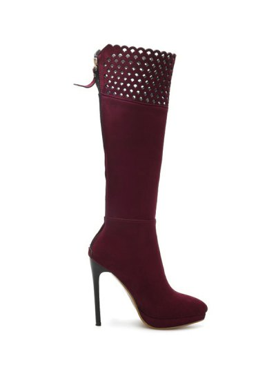Hollow Out Zipper Platform Boots - BURGUNDY 38 Mobile