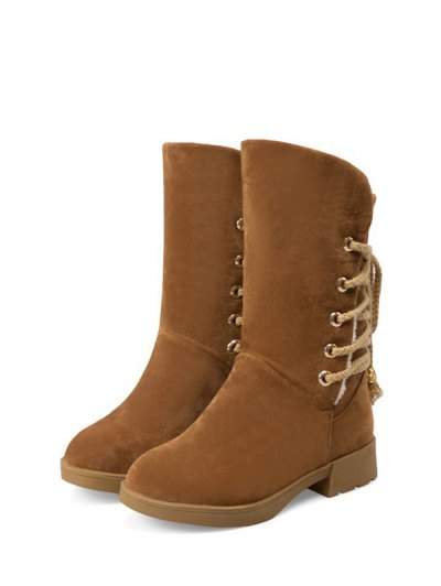 Back Lace Up Mid Calf Snow Boots - BROWN 39 Mobile