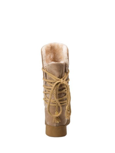Back Lace Up Mid Calf Snow Boots - APRICOT 37 Mobile