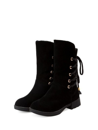 Back Lace Up Mid Calf Snow Boots - BLACK 39 Mobile