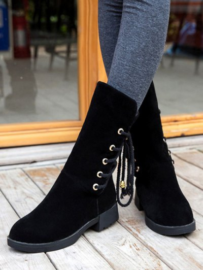 Back Lace Up Mid Calf Snow Boots - BLACK 37 Mobile