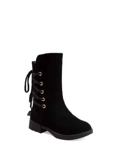Back Lace Up Mid Calf Snow Boots - BLACK 38 Mobile