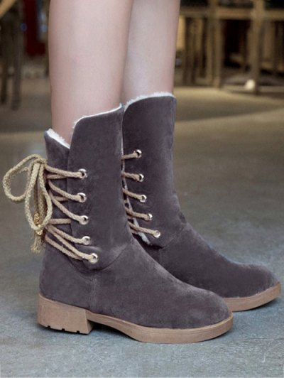 Back Lace Up Mid Calf Snow Boots - GRAY 37 Mobile