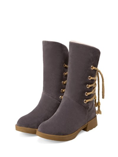 Back Lace Up Mid Calf Snow Boots - GRAY 38 Mobile