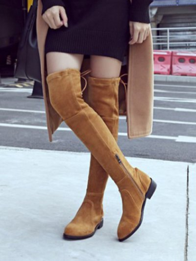 Flock Flat Heel Thigh Boots - BROWN 39 Mobile