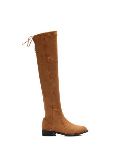 Flock Flat Heel Thigh Boots - BROWN 38 Mobile