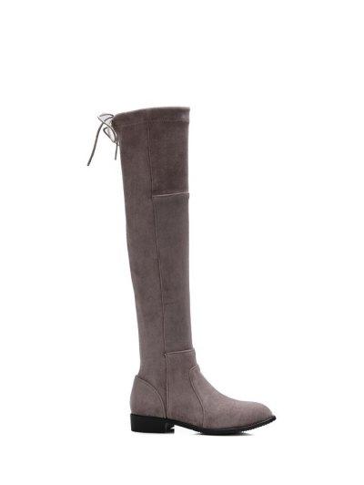 Flock Flat Heel Thigh Boots - GRAY 37 Mobile
