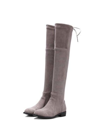 Flock Flat Heel Thigh Boots - GRAY 38 Mobile