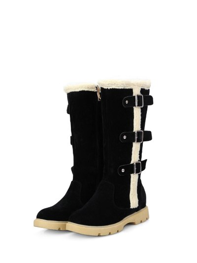 Faux Shearling Panel Mid Calf Boots - BLACK 38 Mobile