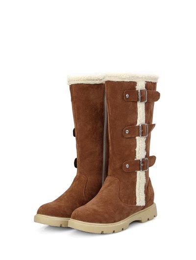 Faux Shearling Panel Mid Calf Boots - BROWN 39 Mobile