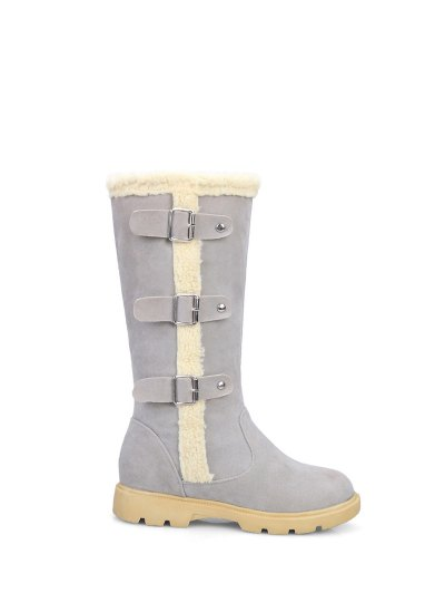 Faux Shearling Panel Mid Calf Boots - GRAY 39 Mobile