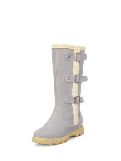 Faux Shearling Panel Mid Calf Boots - GRAY 37 Mobile