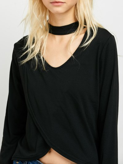 High Low Choker T-Shirt - BLACK XL Mobile