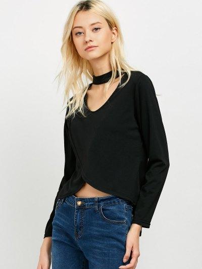 High Low Choker T-Shirt - BLACK L Mobile