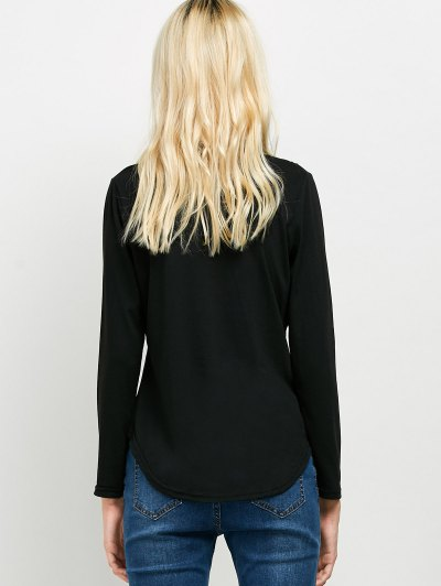 High Low Choker T-Shirt - BLACK M Mobile