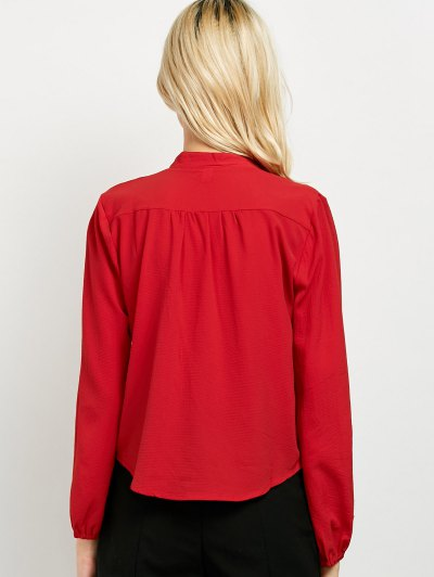 Long Sleeve Chiffon Surplice Choker Blouse - RED XL Mobile