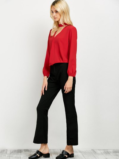 Long Sleeve Chiffon Surplice Choker Blouse - RED L Mobile