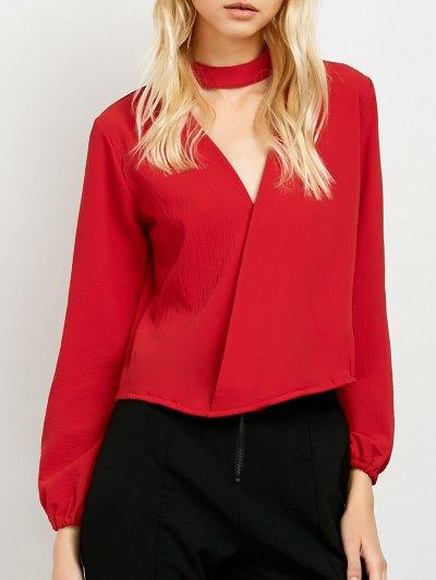 Long Sleeve Chiffon Surplice Choker Blouse - RED M Mobile