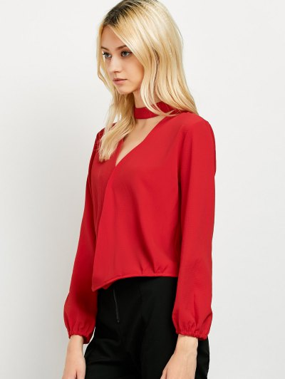 Long Sleeve Chiffon Surplice Choker Blouse - RED S Mobile