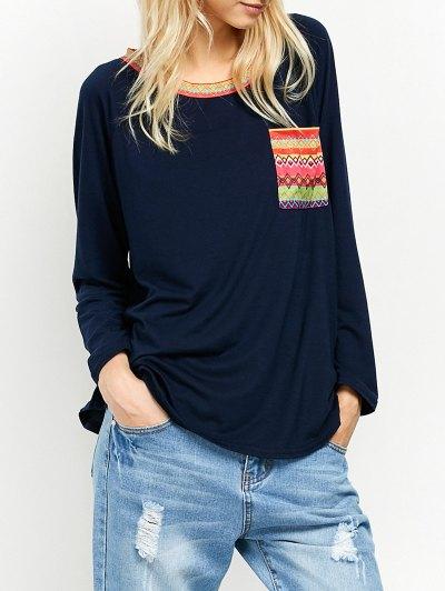 Pocket Round Neck Printed Tunic T-Shirt - CADETBLUE XL Mobile