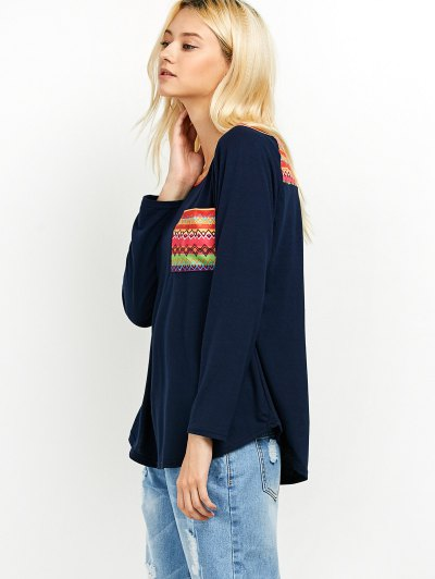 Pocket Round Neck Printed Tunic T-Shirt - CADETBLUE S Mobile