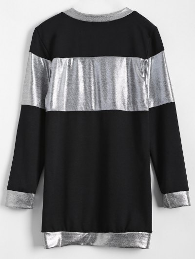Metallic Color Long Sleeve Mini Dress - BLACK S Mobile