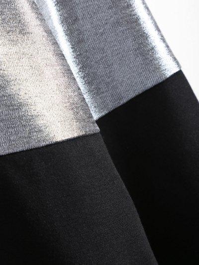 Metallic Color Long Sleeve Mini Dress - BLACK M Mobile