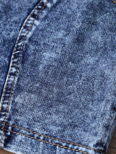 Scoop Neck Denim Crop Top - DEEP BLUE ONE SIZE Mobile