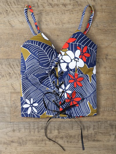 Padded Lace Up Floral Bralet Top - COLORMIX ONE SIZE Mobile