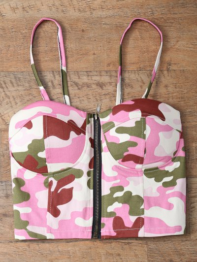 Corset Bralet Camouflage Cami Top - RED ONE SIZE Mobile