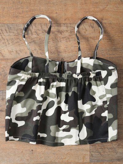 Corset Bralet Camouflage Cami Top - GREEN ONE SIZE Mobile