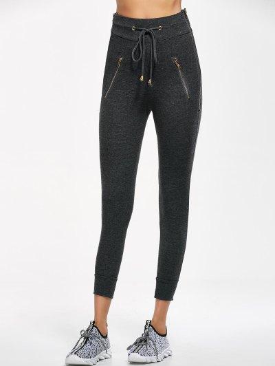 Zip Embellished Drawstring Jogger Pants - DEEP GRAY L Mobile